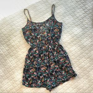 Floral Short Romper with pockets